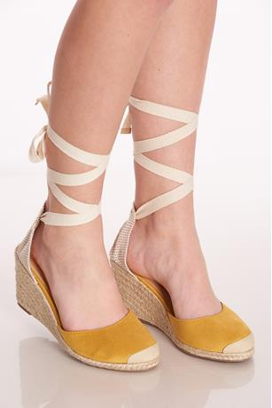 Tie-Up Espadrille Wedges MUSTARD