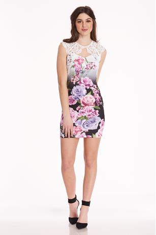 Floral  Keyhole Dress WHITE