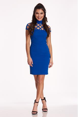 Halter Cage Dress ROYAL