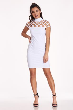 Halter Cage Dress WHITE