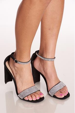 Stone Ankle-Wrap Heels BLACK