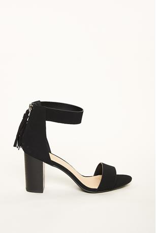Tassel Wood Heels BLACK