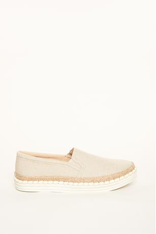 Linen Slip-Ons TAUPE