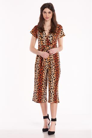 Surplice Print Jumpsuit BROWN