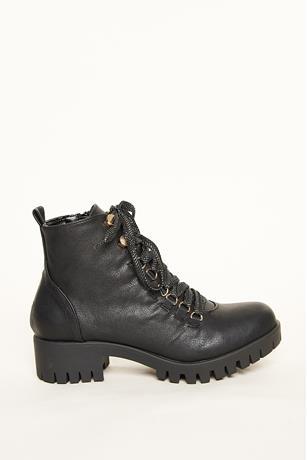 Thick Platform Combat Boots BLACK