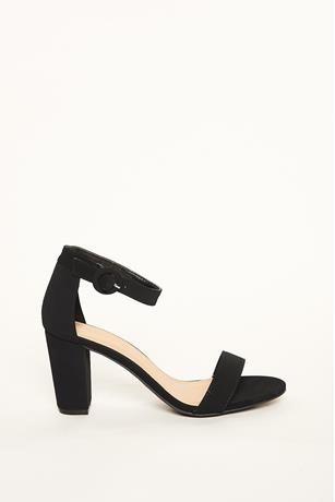 Faux Suede Block Heels BLACK