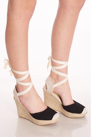 Crochet Espadrille Wedges BLACK