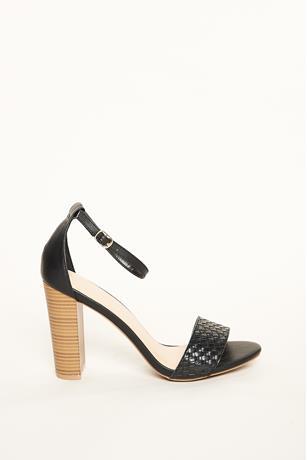 Textured Strap Wood Heels BLACK