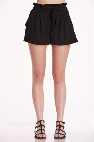 Brushed Paperbag Shorts BLACK