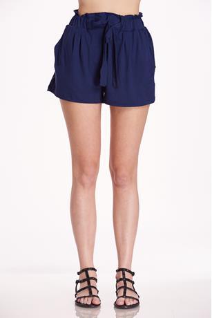 Brushed Paperbag Shorts NAVY