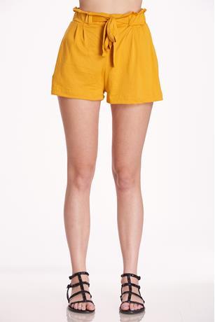 Brushed Paperbag Shorts YELLOW
