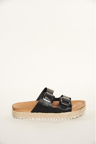 Espadrille Buckled Slides