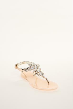 Rhinestone Embellished Jelly Sandals