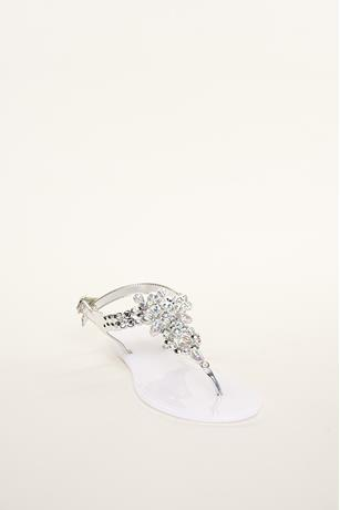 Rhinestone Embellished Jelly Sandals WHITE