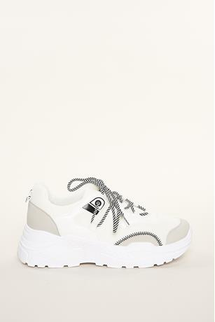 Low-Top Contrast Sneakers WHITE