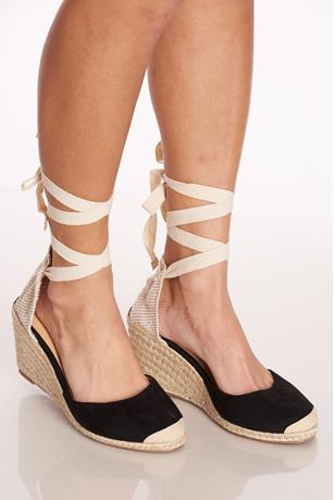 Tie-Up Espadrille Wedges BLACK