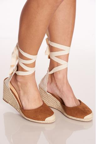 Tie-Up Espadrille Wedges TAN