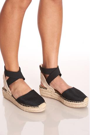 Elastic Ankle Espadrille Sandals BLACK