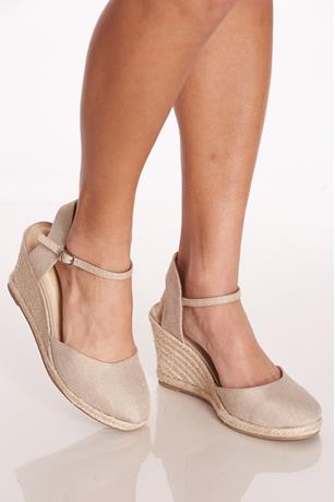 Linen Espadrille Wedges TAUPE