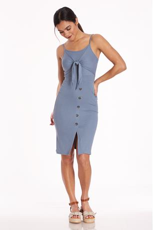 Ribbed Tie-Front Midi Dress
