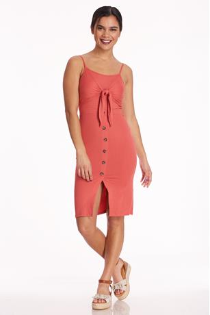 Ribbed Tie-Front Midi Dress RED