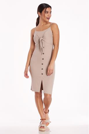 Ribbed Tie-Front Midi Dress TAN