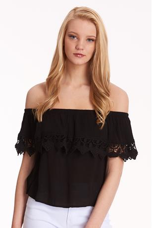 Gauze Off the Shoulder Top BLACK