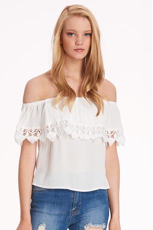 Gauze Off the Shoulder Top WHITE