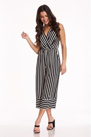 Stripe Surplus Jumpsuit BLKWHT