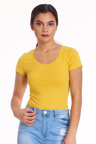 Basic Scoop Neck Tee MUSTARD