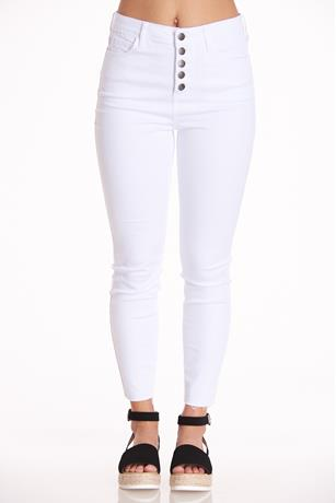 White Button-Up Skinny Jeans WHITE