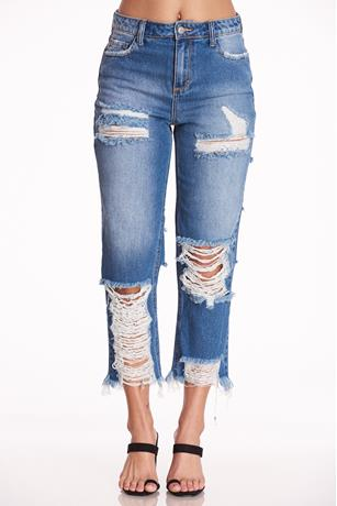 High Waist Extreme Rip Jeans MED WASH