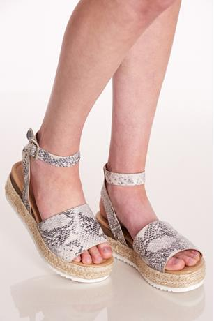 Wrapped Espadrille Platform Sandals BLKWHT