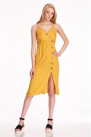 Button-Front Midi Dress MUSTARD