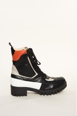 Contrast Combat Boots
