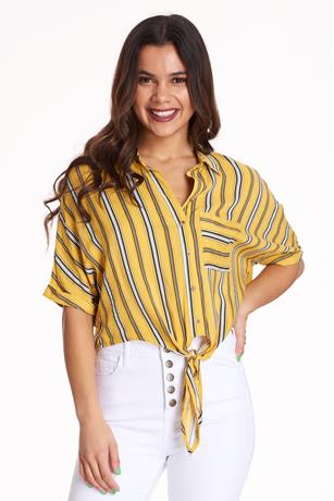 Striped Knotted Shirt YELLOW