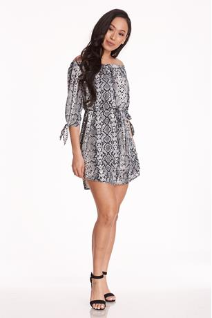 Snake Skin Off shoulder Dress MULTI