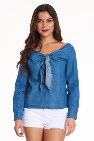 Self-Tie Denim Top MED WASH
