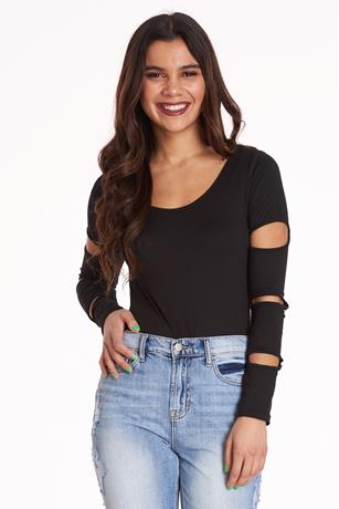 Cut Out Sleeve Bodysuit BLACK
