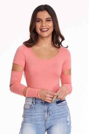 Cut Out Sleeve Bodysuit