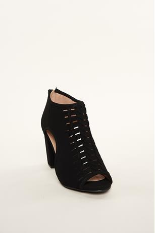 Braided Cutout Booties BLACK