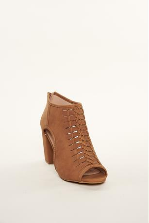 Braided Cutout Booties TAN