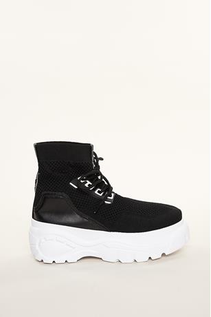 Mesh High-Top Sneakers BLACK