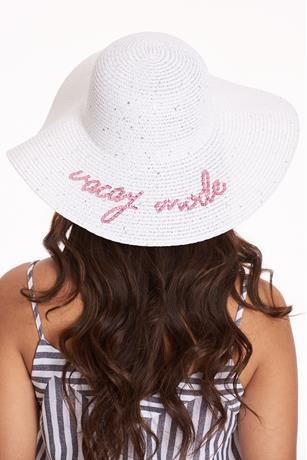 Sequin Vacay Mode Floppy Hat WHITE