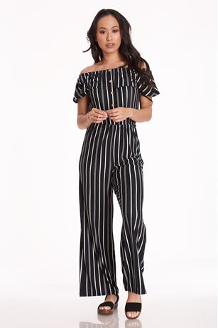 Brushed Button-Up Jumpsuit BLACK