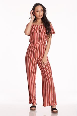 Brushed Button-Up Jumpsuit RUST