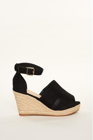 Faux Suede Espadrille Wedges BLACK