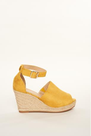 Faux Suede Espadrille Wedges MUSTARD