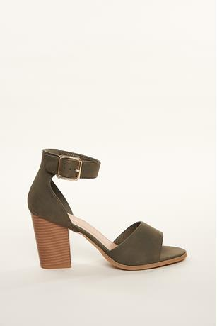 Buckled Open-Toe Block Heels OLIVE