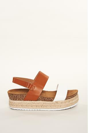 Contrast Platform Espadrille Sandals